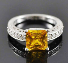 6x6mm Princess Cut Solid 14kt White Gold Natural Citrine Natural Diamond Ring