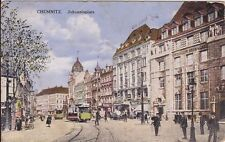 uralte AK, Chemnitz, Johannisplatz Häuser Tramp Strassenbahn