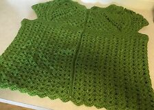 Women's Hand Crocheted Sweater Vest, Dark Lime Green with Glitter Yarn, Bust 48""