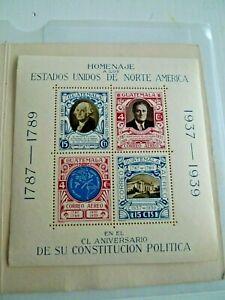 GUATEMALA SOUVENIR SHEET USA CONSTITUTION MNH