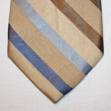 """NEW 60"""" Merona Silk Neck Tie Beige with Blue, Olive Green and Brown Stripes 1459"""