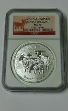 2015p Australia Lunar Silver $1 Year Of The Goat  Ms 70 ( Goat Label )