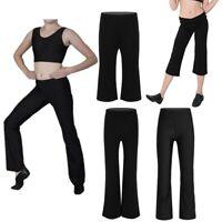 Girls Boys Classic Boot Cut Jazz Pants Lycra Spandex Gymnstics Dance Trousers