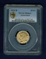 SWITZERLAND REPUBLIC  1925 20 FRANCS GOLD COIN UNCIRCULATED CERTIFIED PCGS MS64+