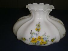 Vtg glass SHADE/GLOBE Oil/Electric/GWTW white glass puffy hp yellow flowers