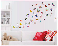 60 Transperent papillon Wall Stickers Mural Art Home Decoration UK