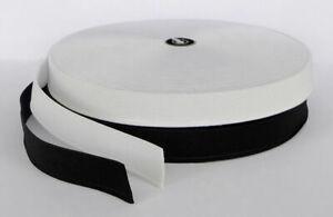 """FLAT ELASTIC 1"""" - 2.5cm WIDE Black & White PREMIUM QUALITY"""