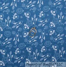 BonEful Fabric FQ Cotton Quilt Blue Planet Space Ship STAR Boy US Rocket Galaxy