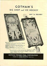 1946 PAPER AD 2 Sided Gotham's Ice Hockey Board Game Big Shot Doll Buggy
