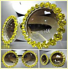 Chic Élégant Style Rétro Lunettes de Soleil Cadre Rond Jaune Bling Cristaux