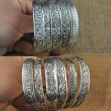 Women Bohemian Carve Flower Bangle Ethnic Retro Cuff Bracelet Fashion Jewelry