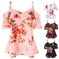 Sexy Women Summer Loose Casual Off Shoulder Floral Shirt Tops Blouse Ladies Tops
