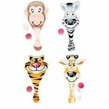 "6 ZOO PADDLE BALLS  Jungle Animals Party Favor 9"" #ST45 Free Shipping"
