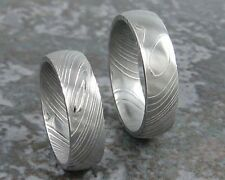 Matching Damascus Steel Ring Set wedding bands Custom Made to Any Sizing 3-22