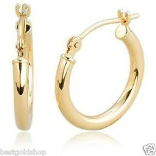REAL 10K Yellow Gold All Shiny Round Hoop Earrings 2mmX 13.5mm