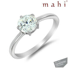 Rhodium  Ring With Swarovski Zirconia For Women FR5017 by Mahi