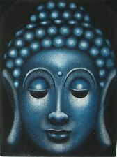 BUDDHA GEMÄLDE Leinwand Buddhabild Buddhamalerei blau Buddhagemälde Budda Buda