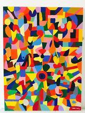 """Nuevo Indre vilke Lona Original """"Bullseye"""" Pintura abstracta Folk Art"""