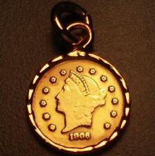 1906 Modern Prize 22K Gold Coin in 18K Pendant. Rare token/medal/charm/bullion.