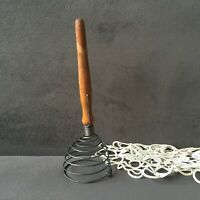 Vintage Spiral Wire Whisk Wood Handle Egg Beater Kitchen Tool