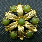 Vintage Antique Jewellery Thin Stamped Gold Tone Olive Green Stones Brooch