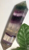 48g PRETTY DOUBLE-TERMINATED NATURAL FLUORITE CRYSTAL HEALING WAND Reiki USA