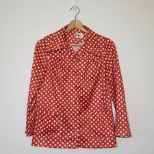 Womens Vintage Shirt Small Button Down Red Orange Polka Dot Marty Gutmacher