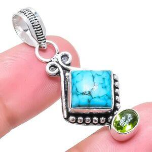 "Santa Rosa Turquoise, Peridot Gemstone Ethnic Silver Jewelry Pendant 1.7"" RP2555"