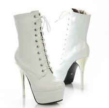 2020 Ladies High Heel Stiletto Platform Patent Leather Ankle Boots Party Shoes