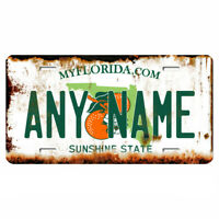 US Metal License Plate - Florida V2 Rusted, Personalise your own plate