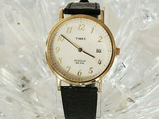 Timex Indiglo Unisex 35mm Easy Reader  Silver Day/Date Black Leather Watch (356)