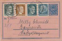 DEUTSCHES REICH 1944 100 M (+30 M) Rohrpostumschlag als Briefumschlag genutzt