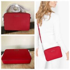 NWT MICHAEL KORS Large Bright Red East West Saffiano leather Crossbody Bag