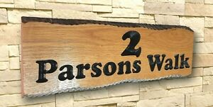 Personalised Oak Carved  Wooden  House Number Name Sign Address Outdoor Plaque