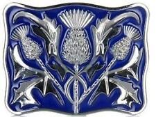 Stunning Scottish Celtic Thistle Kilt Belt Buckle Blue Enamelled Chrome
