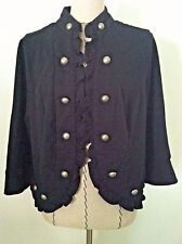 New Direction woman plus 1X black jacket open silver button ruffle trim chic siz