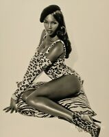 1991 HERB RITTS Super Model NAOMI CAMPBELL Beret Leopard Fashion Photo Art 12x16