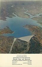 Postcard Air View Oroville Dam & Reservoir CA Butte Co. Highest Earth Filled Dam