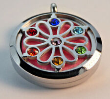 New Chakra Flower, Diffuser Necklace Locket Stainless Still 10ml Oil 11 Pads