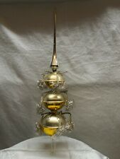 Antique Victorian Blown Glass Christmas Tree Topper Pinecones,Tinsel & Wire Star