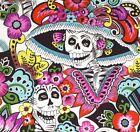 DIA LA CATRINA~Alexander Henry~Day of the Dead~Skulls~Folklorico~Fabric W~1/2 yd