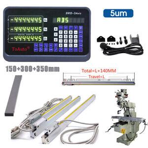 3 Achsen Digitalanzeige DRO Lineare Skala 150+300+350mm für Drehmaschine Mühle