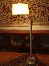 Vintage Mid Century Russel Wright Spun Aluminum & Oak Floor Lamp - RARE