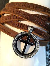 Mens Leather Goth Punk Long Wrapped Wristband Cuff Cross CZ Crucifix Bracelet
