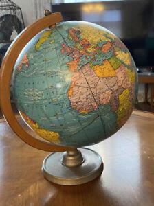 """Vintage Cram's  Universal Terrestrial Globe 10.5"""" Post 1949 Wood Dial Metal Base"""