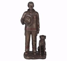 """Lady Firefighter with Dog Hand Painted Resin Figurine Miniature Statue 8""""H New"""