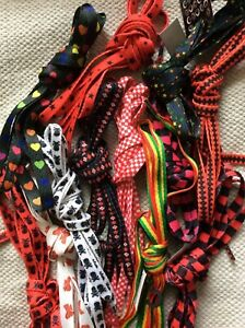 Shoe Laces Patterned Reggae Stripey Star Argyle Skater checkerboard red hearts
