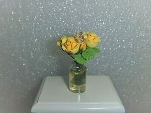 Yellow  Floral Arrangement in Clear Vase~*~OOAK