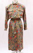 New listing Vintage Miss Hong Floral Butterfly Printed Silk Blouson Dress Sz M