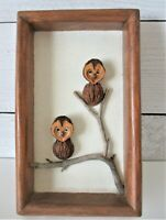 Vintage Folk Art Nut Art Walnut Owl Framed Pair Tree Branch 1978 Signed